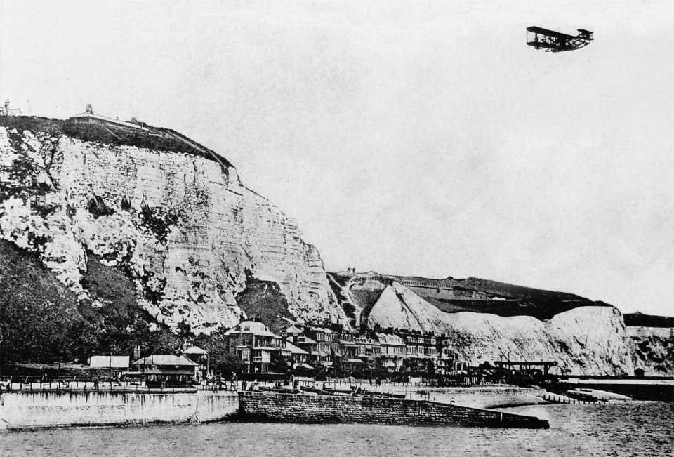 Charles Rolls arriving in Dover after the first non-stop double crossing of the Channel by plane