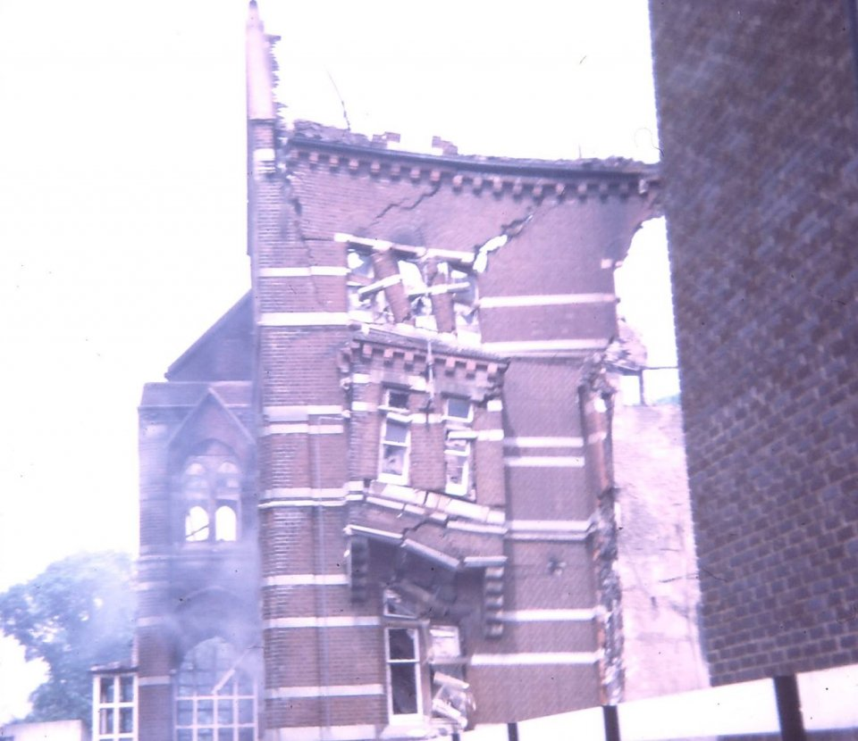 Castlemount School after being destroyed by fire