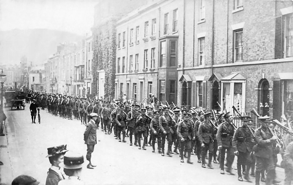 Buffs soldiers marching along Castle Street