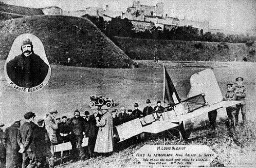 Louis Blériot after flying across the English Channel, 1909