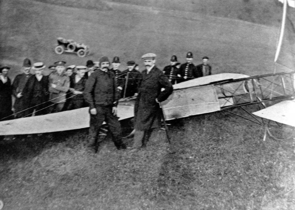 Louis Blériot after landing at Dover, 1909