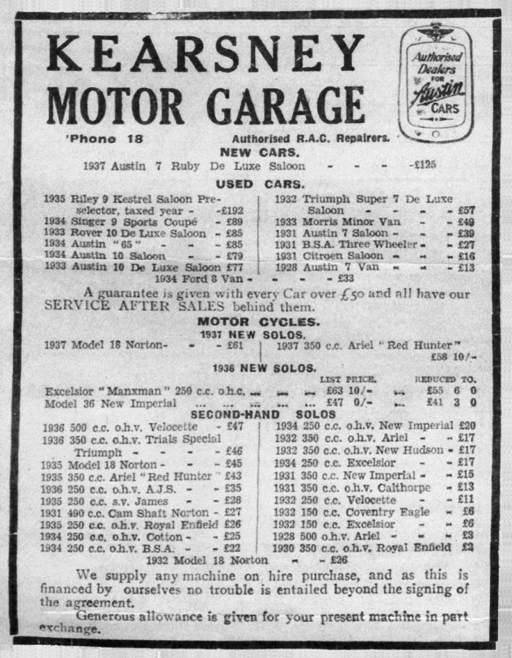 Kearsney Motor Garage, newspaper advert