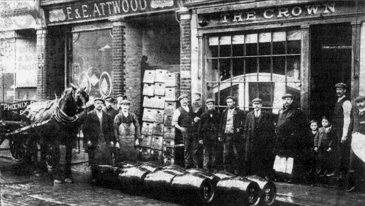 Attwood outfitters and The Crown public house, London Road