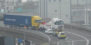 The lorry being recovered Monday morning.