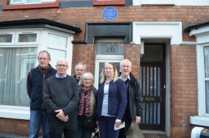 The unveiling of the plaque at Rushden: (left to right) Mark Bird, Ed Finlayson, Duncan Finlayson, Pat Justad, Elizabeth Coombe and Graham Tutthill
