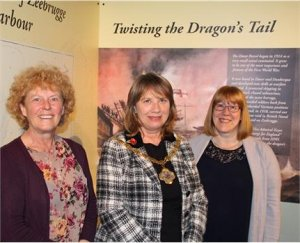 Clare Limbrey, DDC Design Manager, Cllr Sue Chandler, Chairman of Dover District Council, and Linda Mews, Museum Assistant