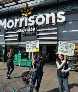 Deacon Michelle Legumi (left) and Cross-Links youth worker Rebecca Meredith outside Morrisons store in Dover