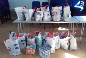 Bags of donations which people made to the Foodbank
