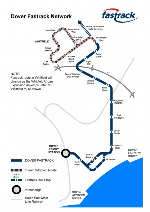 The proposed route for Dover Fastrack