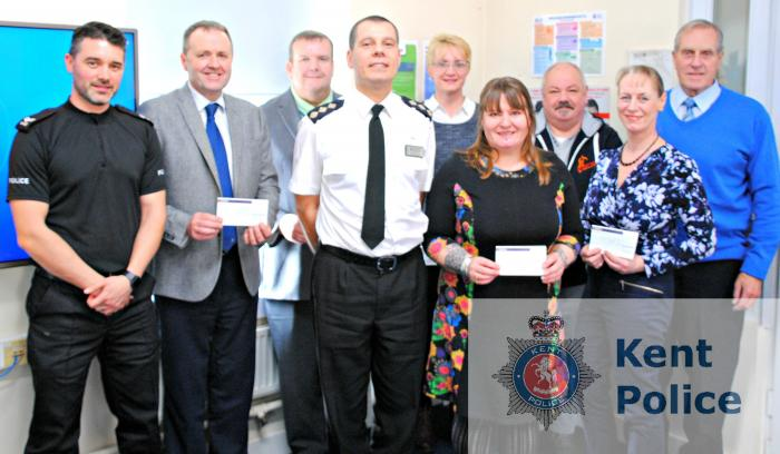 From left to right: Police Sergeant Ben Norbury from the Community Policing Team, Noel Beamish, Jon Green, Chief Inspector Fox, Caroline Taylor, Elleanor Scott, Phil Scott, Linda Ford and John Ford